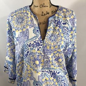 CHARTER CLUB All Cotton Blue Floral print Robe/XLG